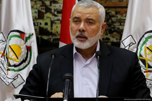 Head of Hamas' political bureau, Ismail Haniyeh speaks at the Palestine National Council meeting on 30 April 2018 [Mohammed Asad/Middle East Monitor]