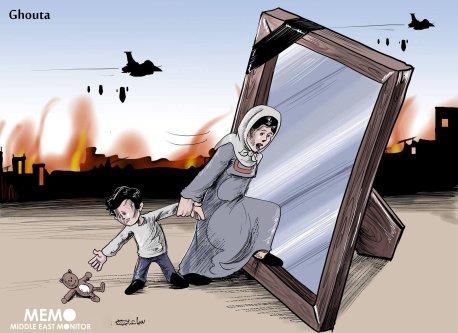 Syria: 560 killed, 2,000 injured in Eastern Ghouta in 9 days - Cartoon [Sabaaneh/MiddleEastMonitor]