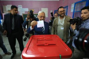 Leader of Ennahdha Party Rashid al-Ghannouchi casts his vote at a polling station during Tunisian local elections, which was held first time after 2011 Arab Spring revolution, in Ben Arous, Tunisia on May 06, 2018. ( Yassine Gaidi - Anadolu Agency )