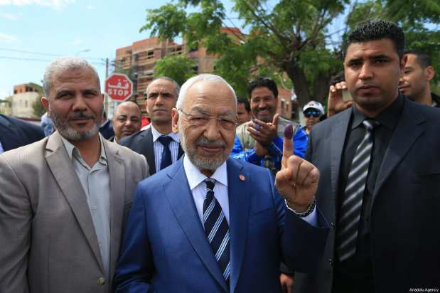 Leader of Ennahdha Party Rashid al-Ghannouchi poses for a photo after casting his vote at a polling station during Tunisian local elections, which was held first time after 2011 Arab Spring revolution, in Ben Arous, Tunisia on May 06, 2018. ( Yassine Gaidi - Anadolu Agency )
