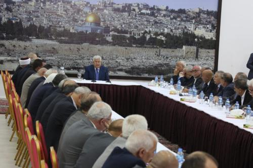 Palestinian President Mahmoud Abbas holds an urgent cabinet meeting in Ramallah, West Bank on 14 May, 2018 [Issam Rimawi/Anadolu Agency]