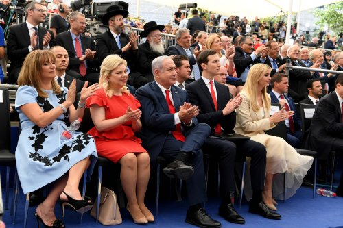 US President's daughter Ivanka Trump (left 5) Israel Prime Minister's wife Sara Netanyahu (left 2), Donald Trump's son-in-law and Senior Advisor Jared Kushner (left 4) and Israel's Prime Minister Benjamin Netanyahu (left 3) attend the opening of the US embassy in Jerusalem on 14 May, 2018 [Israel Press Office/Anadolu Agency]