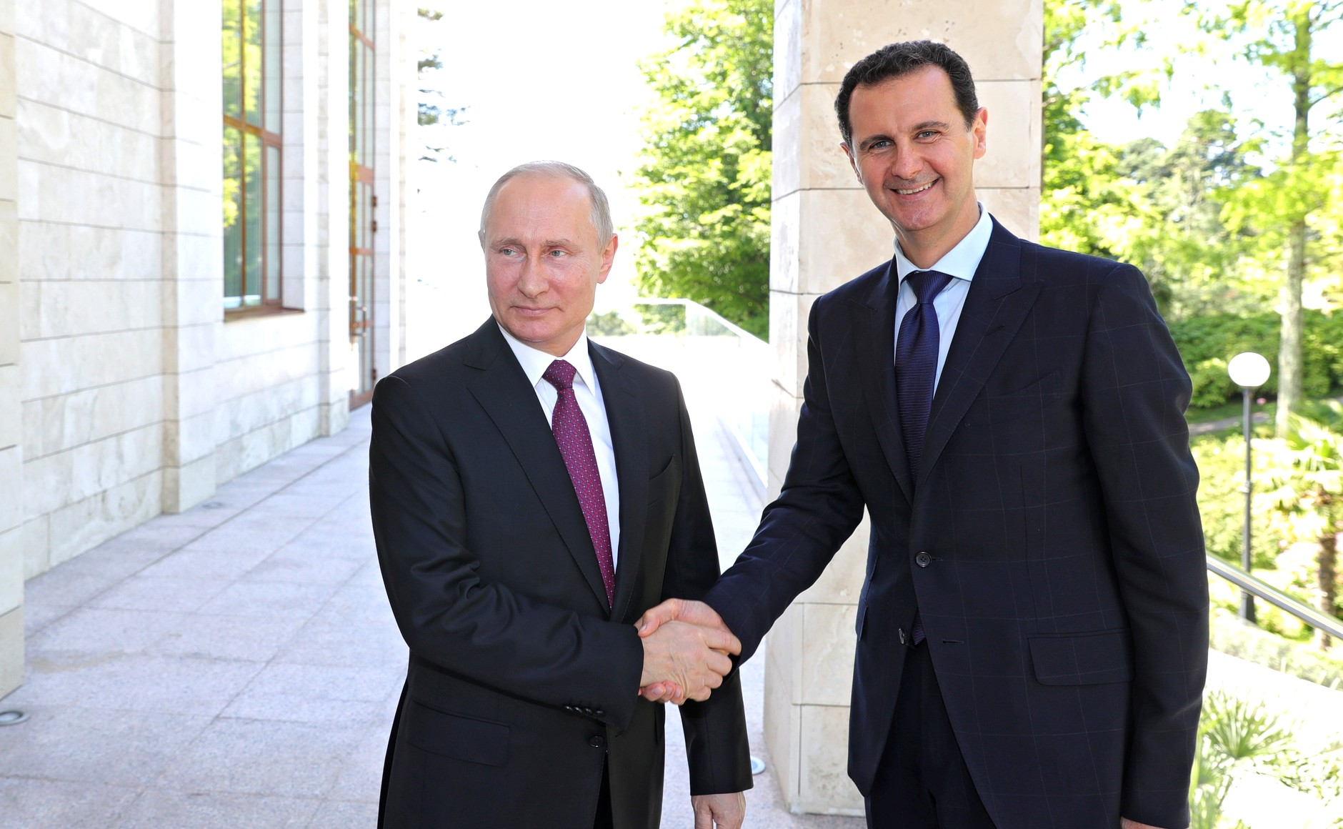 Russian President Vladimir Putin meets President of Syria Bashar Al Assad in Sochi Russia on 17 May 2018