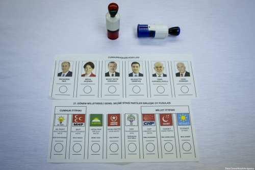 Sample ballots are seen ahead of the Turkish presidential and parliamentary elections which will take place on 24 June in Ankara, Turkey [Emin Sansar/Anadolu Agency]