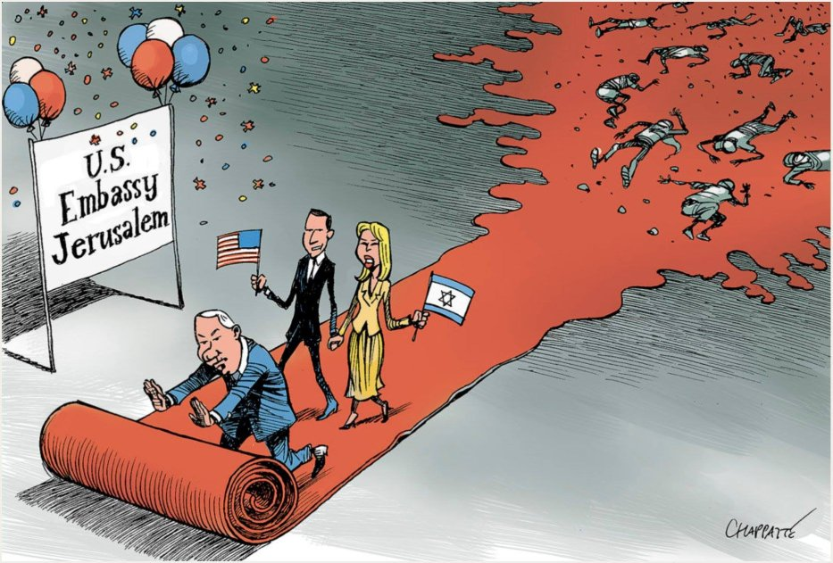 US embassy moved to Jerusalem - Cartoon [Chappatte/MiddleEastMonitor]