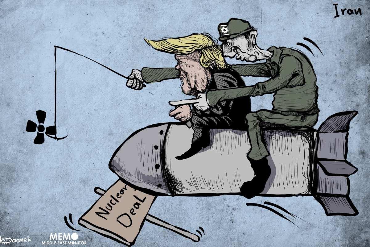 Nuclear Deal: Israel is behind it - Cartoon [Sabaaneh/MiddleEastMonitor]
