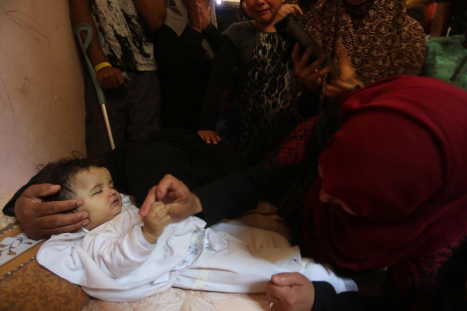8-month-old Layla became the youngest victim of Israel's heavy handed response to unarmed Palestinian protests in Gaza [Mohamed Asad/Middle East Monitor]