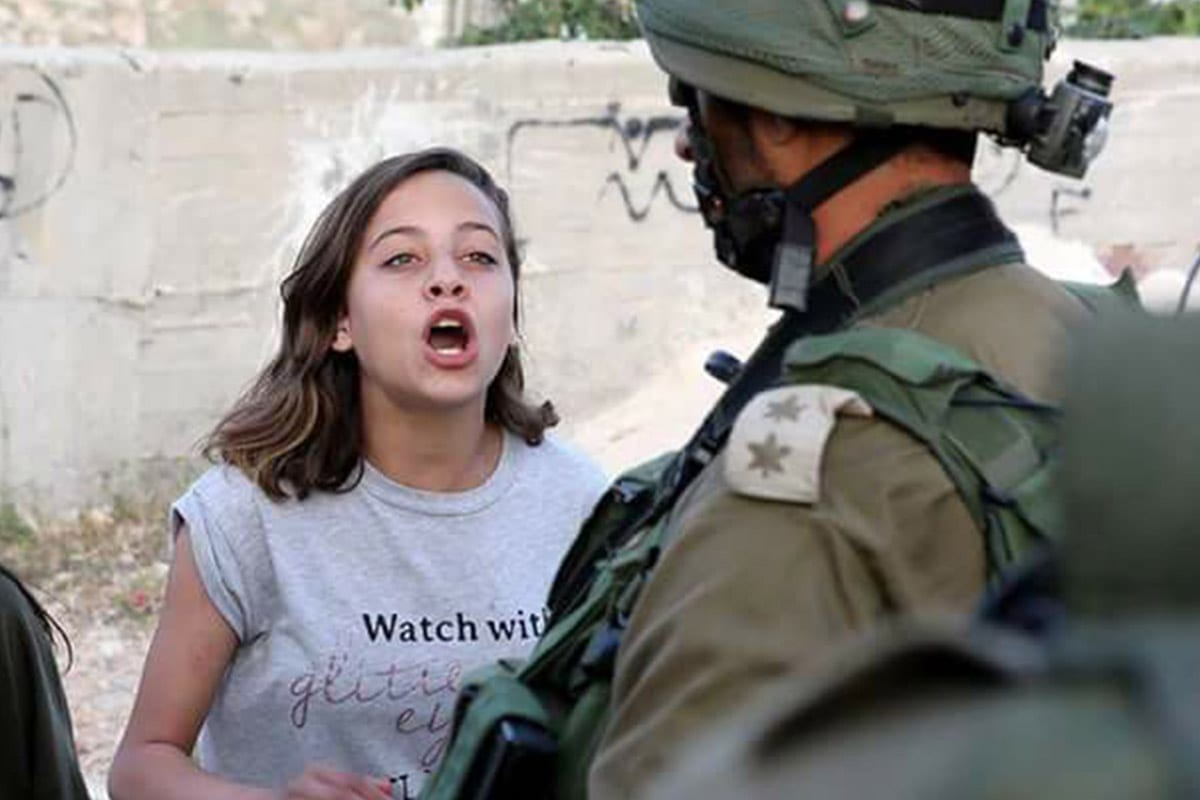 Janna Jihad, an 11-year-old Palestinian youth activist and amateur journalist [Haim Schwarczenberg]