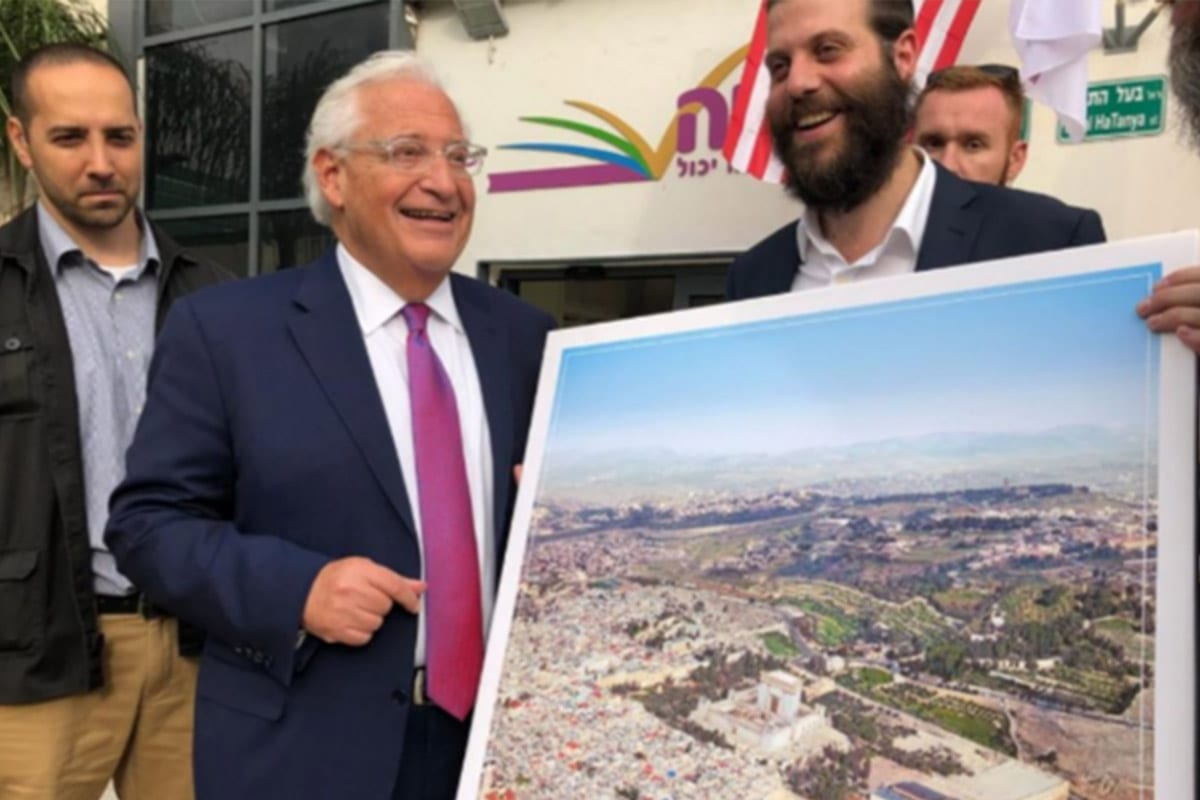 US Ambassador to Israel David Friedman poses with a picture of the 'Third Temple' which Zionists wish to build on the site of Al-Aqsa Mosque in occupied Jerusalem on 22 May 2018 [Twitter]