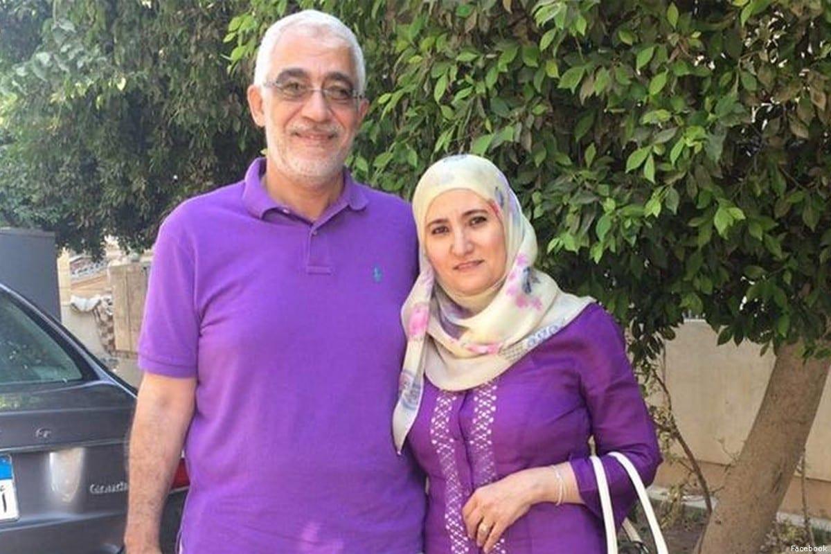 Ola Al-Qaradawi, daughter of the Chairman of the International Union of Muslim Scholars, Sheikh Yusuf Al-Qaradawi, and her husband [Facebook]