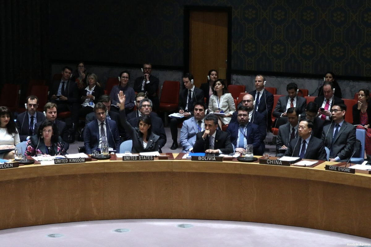 General view of the Security Council meeting on the situation in the Middle East including the Question of Palestine at the United Nations Headquarters in New York, United States on June 01, 2018 [Atılgan Özdil / Anadolu Agency]