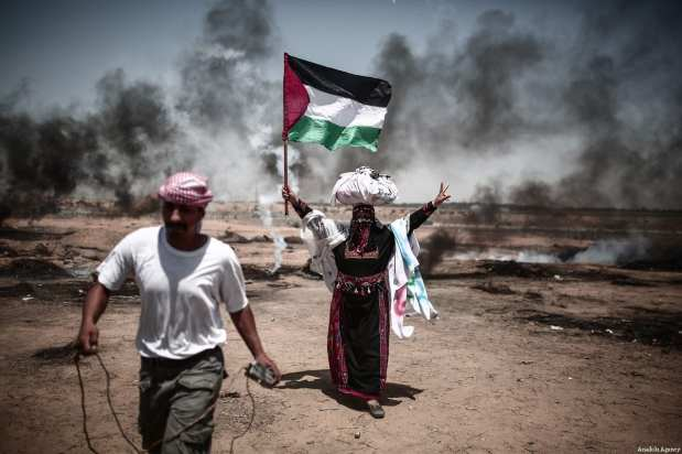 """Palestinian protestors seen at the Gaza-Israel border during the protests called """"commemorating the Naksa"""", along the border fence, east of Khan Yunis in the southern Gaza Strip on June 8, 2018 [Mustafa Hassona / Anadolu Agency]"""
