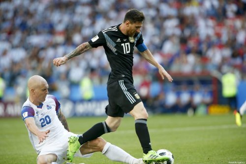 Lionel Messi (10) of Argentina in action against Emil Hallfredsson (20) of Iceland during the 2018 FIFA World Cup Russia Group D match between Argentina and Iceland at Spartak Stadium on June 16, 2018 in Moscow, Russia [Sefa Karacan / Anadolu Agency]