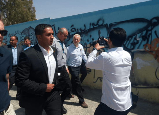 UK Labour Party leader Jeremy Corbyn visits Baqa'a, the largest Palestinian refugee camp in Jordan, on 23 June 2018