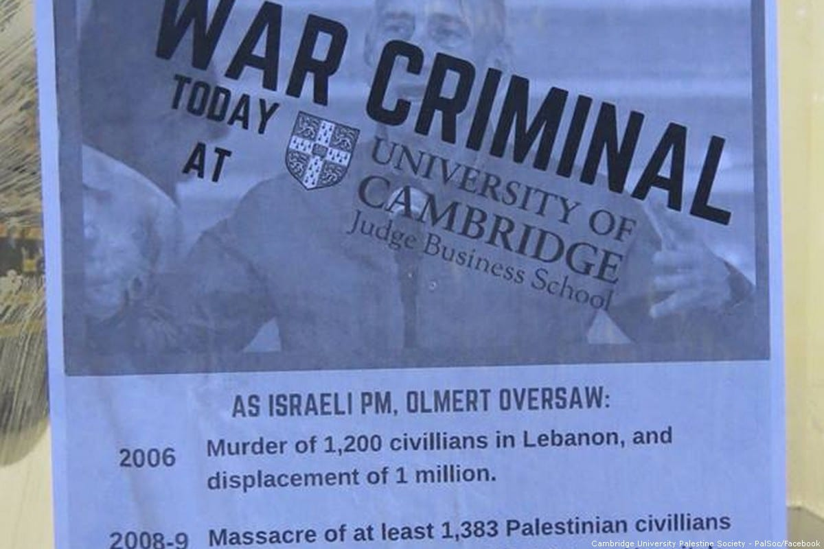 Cambridge University students protest 'war criminal' Ehud Olmert [Cambridge University Palestine Society - PalSoc/Facebook]