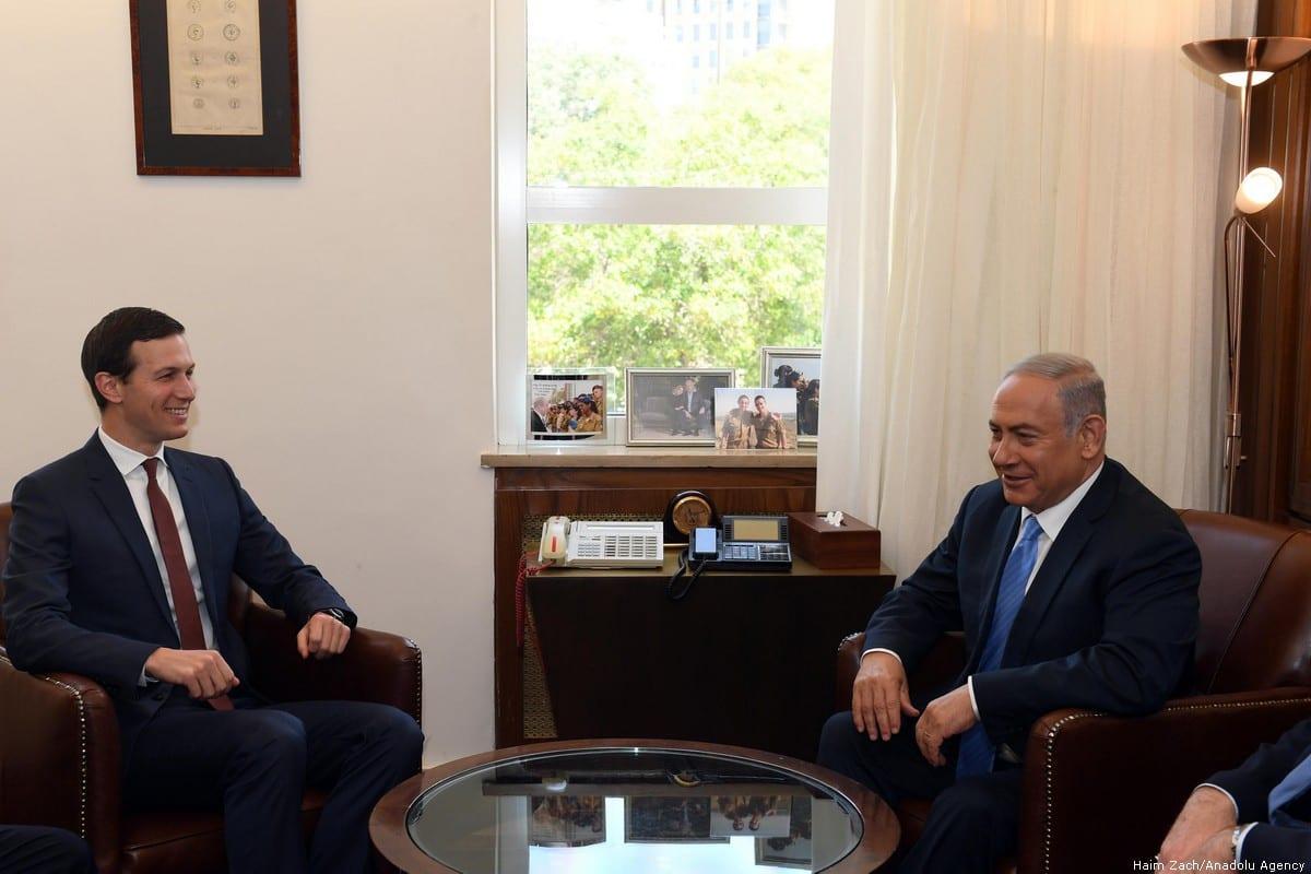 Israeli Prime Minister Benjamin Netanyahu (R) meets Donald Trump's son-in-law and Senior Advisor Jared Kushner [Haim Zach/Anadolu Agency]
