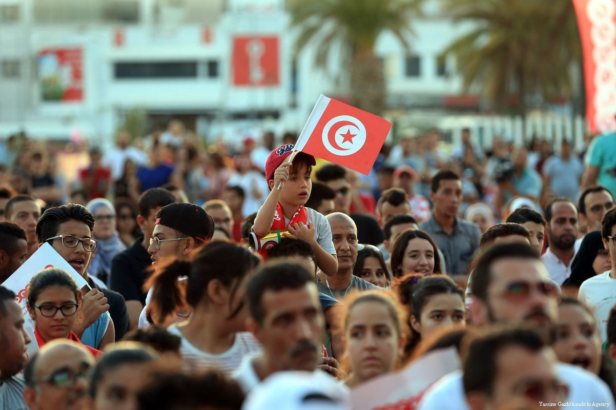 Tunisians celebrated their 2-1 win over Panama in the World Cup on 28 June 2018 in Tunis [Yassine Gaidi/Anadolu Agency]