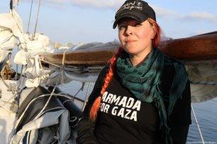 Divina Levrini - Swedish singer and activist on board 'Freedom' to Gaza [Jehan Alfarra/Middle East Monitor]
