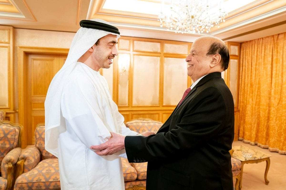Yemeni President Abd Rabbuh Mansur Hadi is received by Sheikh Abdullah Bin Zayed Al Nahyan, UAE Minister of Foreign Affairs and International Cooperation, on 11 June 2018 [WAM]