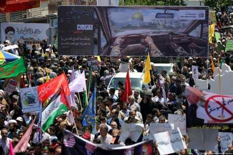 Iranians march towards Tehran University during International Al-Quds Day protest in Tehran, Iran on 8 June 2018 [Fatemeh Bahrami/Anadolu Agency]