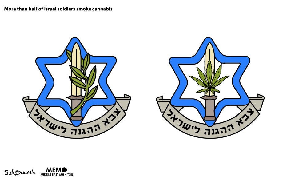 More than half of Israel soldiers smoke cannabis - Cartoon [Sabaaneh/MiddleEastMonitor]