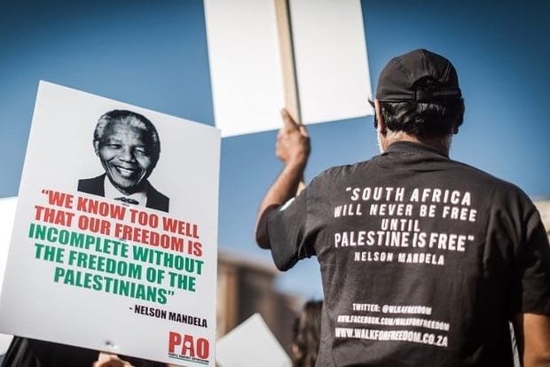 Pro-Palestinian groups and other civil society organisations demonstrate, in Durban on 2 June, 2018 [Twitter]