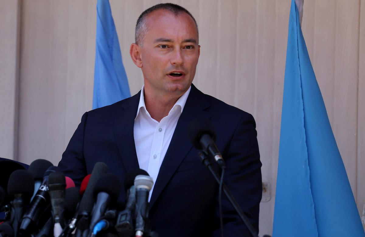 Nikolay Mladenov, United Nations Special Coordinator for the Middle East Peace Process, speaks during a press conference, in Gaza city on 15 July, 2018 [Ashraf Amra/Apaimages]