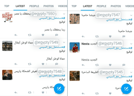 A number of automatic/phantom accounts tweeting on the Hashtag (We Will Bear With el-Sisi). We note the serial number attached to the profile name of each account, which means that all the accounts originate from one source for the purpose of propaganda