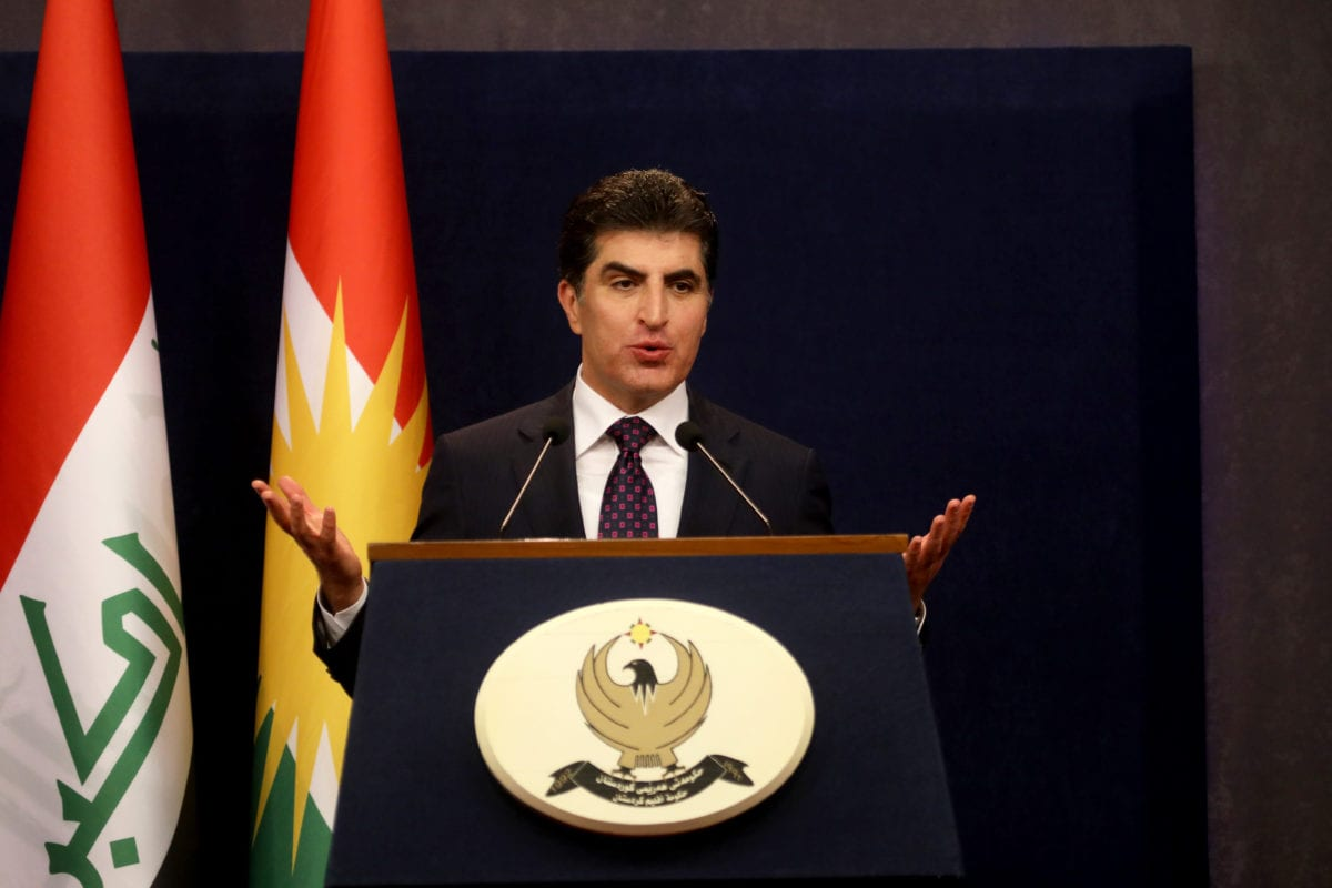Prime Minister of Iraqi Kurdish Regional Government (KRG), Nechirvan Barzani holds a press conference after attending IKRG cabinet ministers meeting in Erbil, Iraq on 4 July, 2018 [Yunus Keleş/Anadolu Agency]