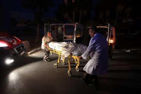 Dead bodies of victims who lost their lives on a militant attack in western Tunisia are brought to Charles Nicole Hospital in Tunis, Tunisia on 8 July 2018 [Yassine Gaidi/Anadolu Agency]