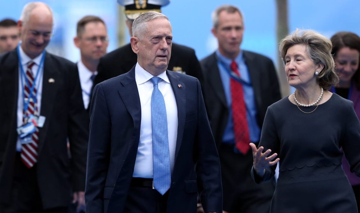 U.S. Secretary of Defense James Mattis (C) arrives on the second day of 2018 NATO (North Atlantic Treaty Organization) Summit at NATO headquarters on 12 July, 2018 in Brussels, Belgium [Dursun Aydemir/Anadolu Agency]