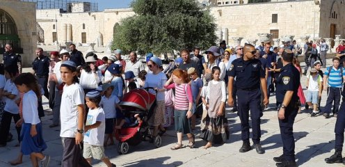 A group of Jewish settlers storm into the Al-Aqsa compound, while accompanied by policemen in Jerusalem on 18 July 2018 [Masjid al-Aqsa Foundation/Anadolu Agency]
