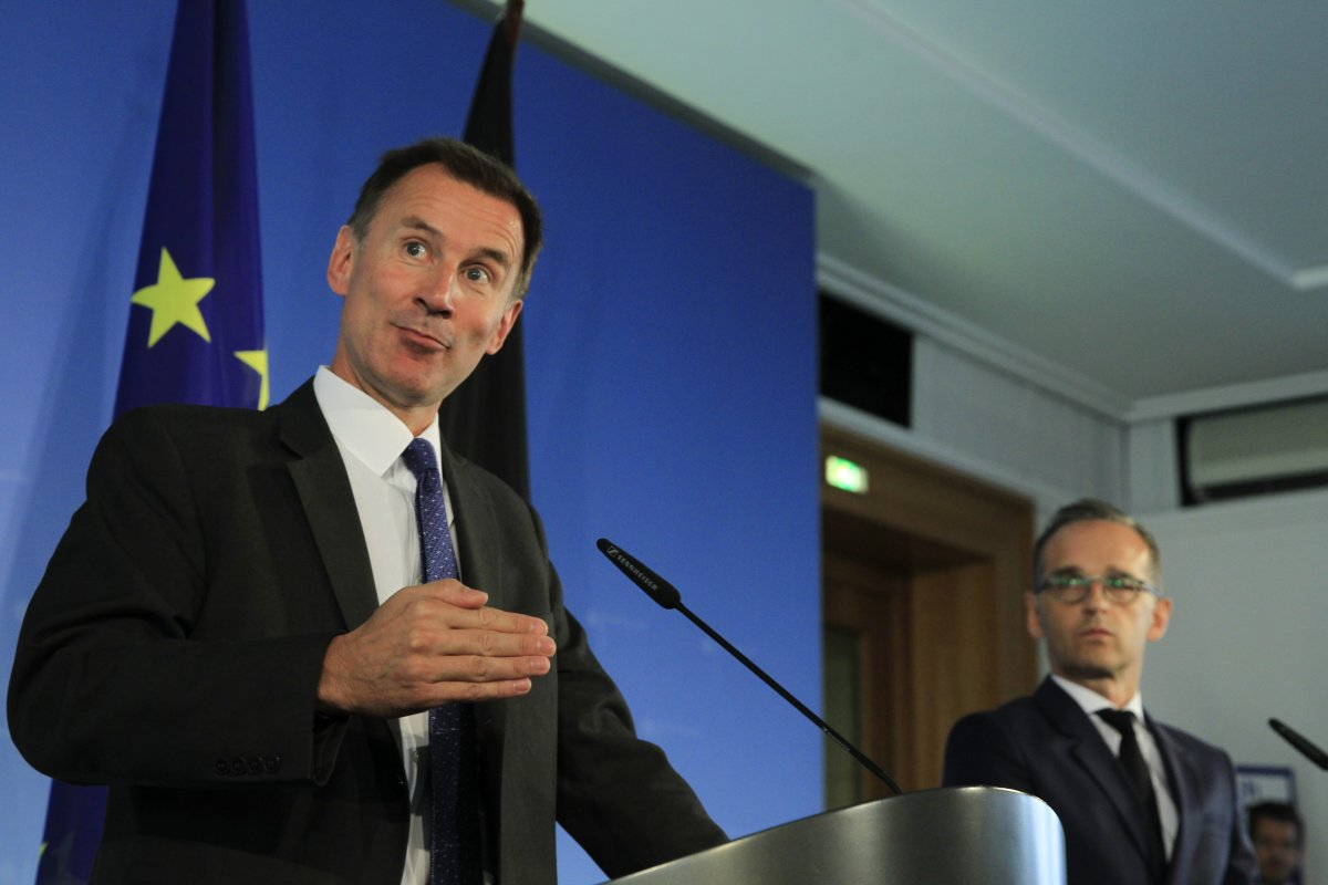 German Foreign Minister Heiko Maas and British Foreign Secretary Jeremy Hunt hold a joint press conference after their meeting at the Ministry of Foreign Affairs in Berlin, Germany on 23 July, 2018 [Abdülhamid Hoşbaş/Anadolu Agency]