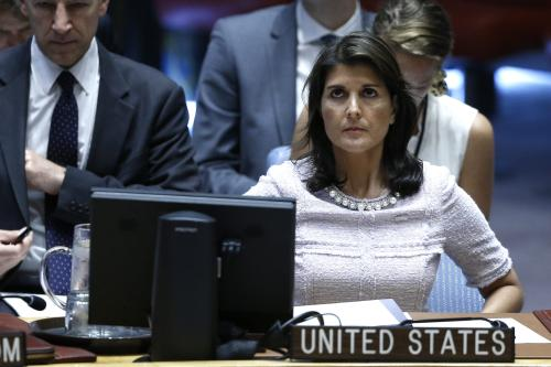 US Ambassador to the United Nations Nikki Haley, attends Security Council meeting on the situation in the Middle East including the Question of Palestine at the United Nations Headquarters in New York, United States on 24 July, 2018 [Atılgan Özdil/Anadolu Agency]