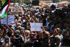 Palestinians in Gaza gather to call for the UN to continue its services in the beleaguered Strip [Mohammed Asad/Middle East Monitor]