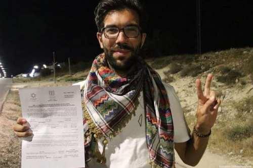 Swedish activist Benjamin Ladraa is seen with his rejection statement after he was denied entry into Israel via Jordan [Benjamin Ladraa/Facebook ]
