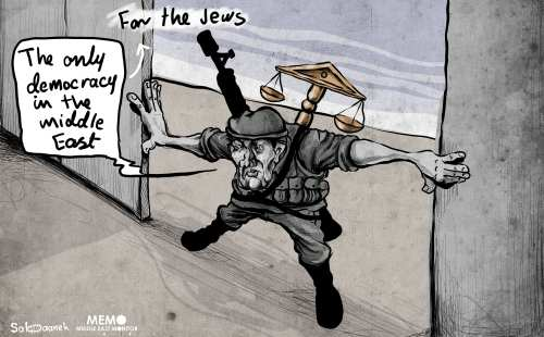 Israel has passed the Nation-State Law becoming officially an Apartheid State - Cartoon [Sabaaneh/MiddleEastMonitor]