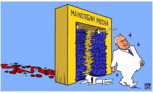 Mainstream Media turn a blind eye on Netanyahu's crime - Cartoon by Carlos Latuff