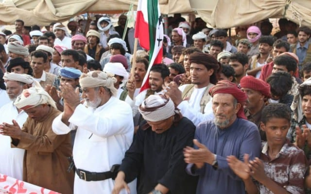 People come together in Yemen to protest against the Arab Coalition