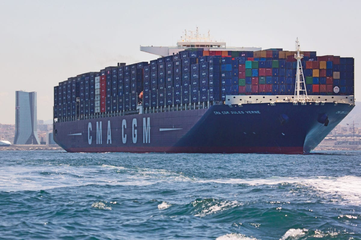 CMA CGM's flagship Jules Verne seen near the post of Marseille in 2012 [cma-cgm-blog.com]