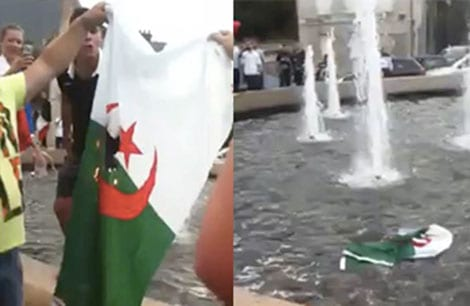 Photos showing the flag of Algeria burnt and being thrown into the water [Twitter]