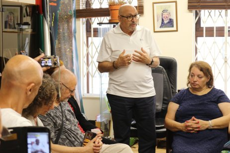 Palestinian Ambassador to the UK, Manuel Hassassian speaking at the Mission of Palestine to the UK, which hosted a press conference with two international activists who were on board the Gaza-bound 2018 Freedom Flotilla, on 7 August, 2018 [Jehan Alfarra/Middle East Monitor]