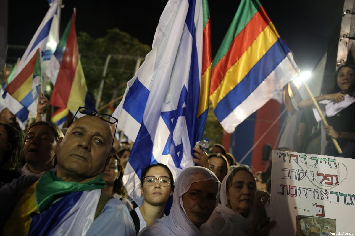 "Thousands of demonstrators from the Druze community stage a protest against the ""Jewish Nation-State"" law that was approved last month by the Israel's parliament, at Rabin Square in Tel Aviv, Israel on 4 August 2018 [Daniel Bar On / Anadolu Agency]"