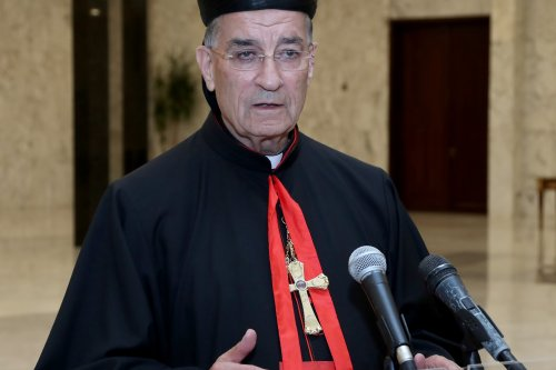 Lebanon's Christian Maronite patriarch Bechara Boutros al-Rahi speaks to the press following a meeting with Lebanese President Michel Aoun, at Baabda Palace in Beirut, Lebonan on 29 August, 2018 [Lebanese Presidency Handout/Anadolu Agency]