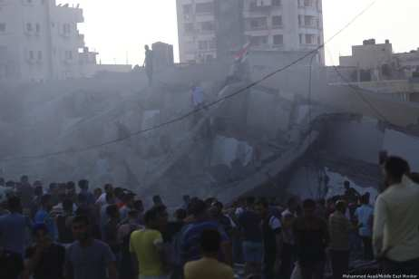 Israeli occupation forces targeted a cultural centre in Gaza [Mohammed Asad/Middle East Monitor]