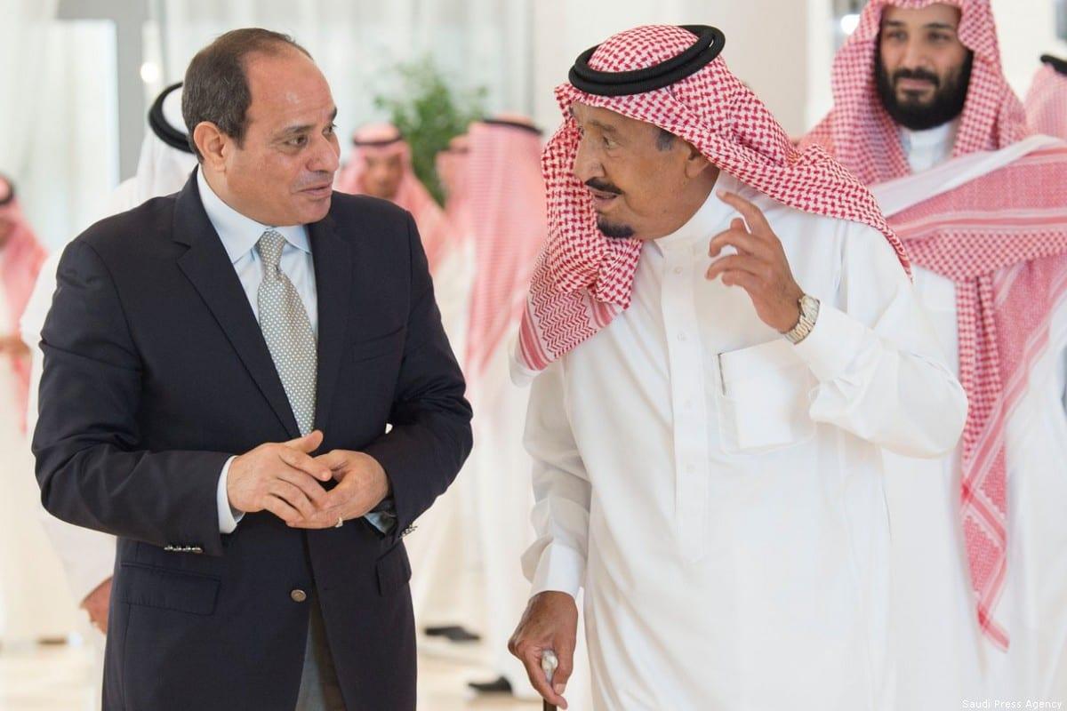 Egyptian President Abdel Fattah Al-Sisi (L) and Saudi Arabia's King Salman Bin Abdulaziz