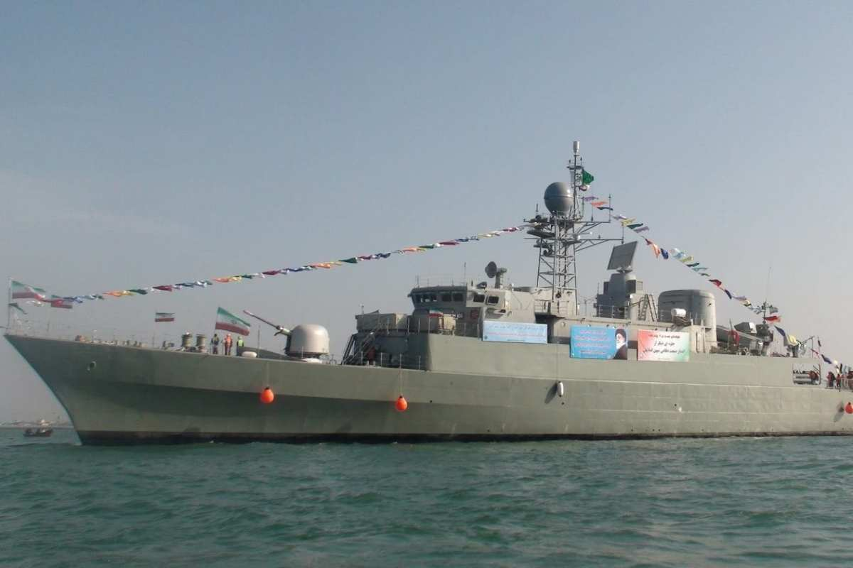 The Damavand, a Moudge class frigate of the Iranian navy [Screengrab / PressTV]