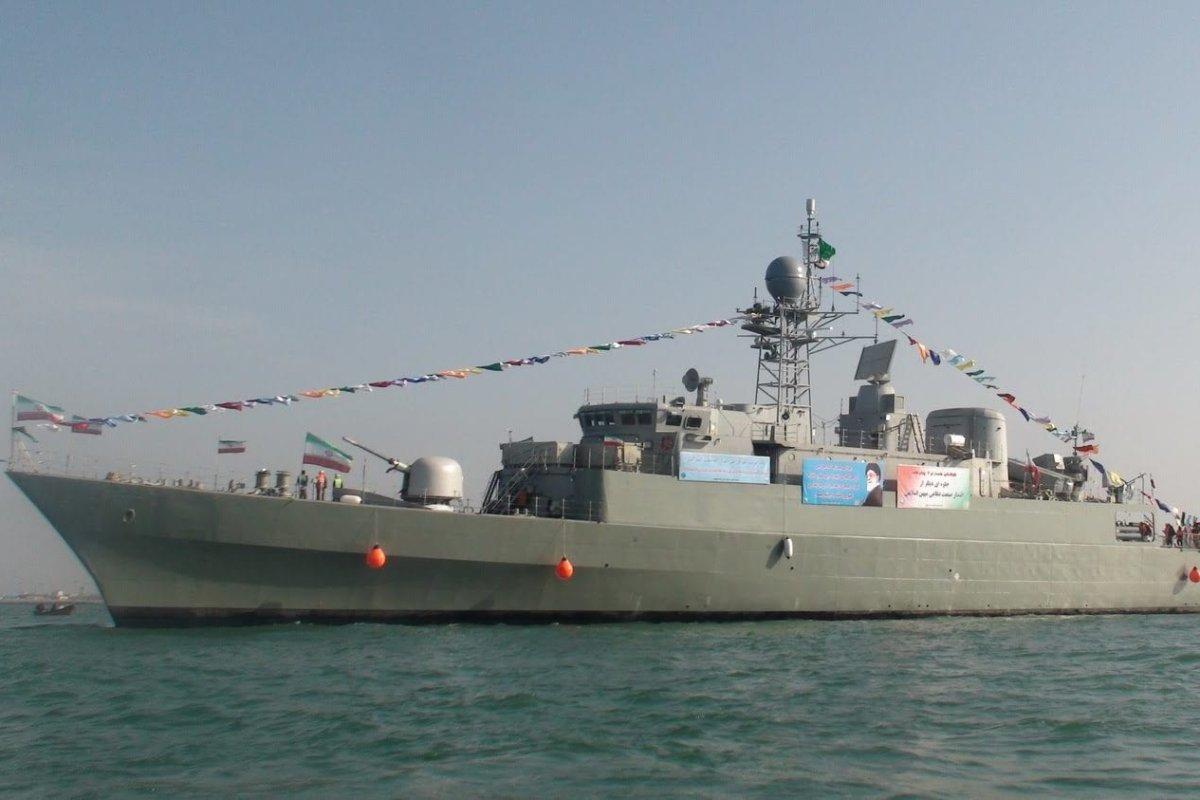 The Damavand, a Moudge class frigate of the Iranian navy [Screengrab / PressTV]