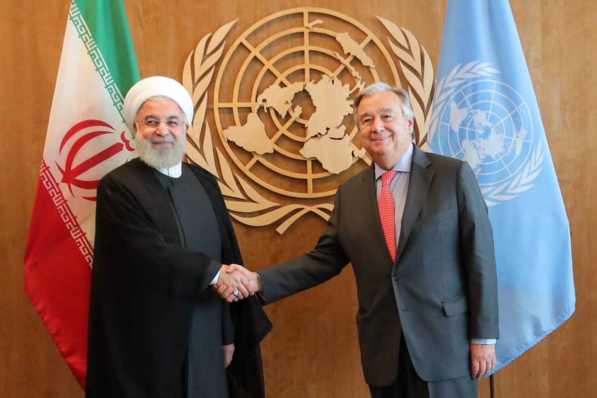 Iranian President Hassan Rouhani (L) meets with Secretary-General of the United Nations, Antonio Guterres (R) within the 73rd Session of the UN General Assembly in New York, United States on 26 September 2018. [Iranian Presidency / Handout - Anadolu Agency]