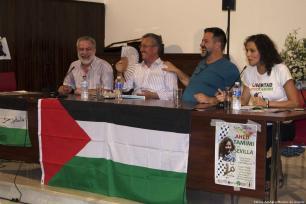 Ahed Tamimi's dad, Basim Tamimi, (2L) in Seville on 26 September 2018 [Fátima Azahara/Monitor de Oriente]
